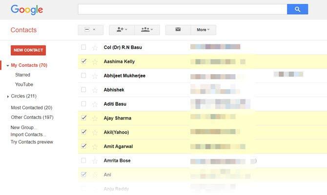 Google-Contacts ایجاد ایمیل گروهی